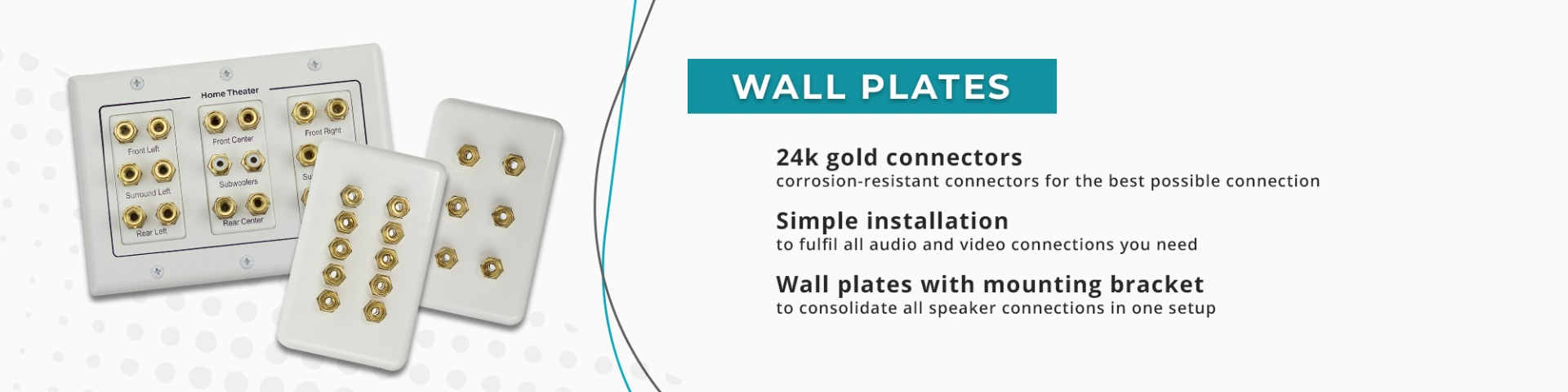 speaker wall plates, av wall plates, wall plates with bracket, home theatre wall plate